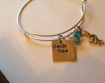 Adjustable Bangle, Beach Babe Bangle w/Charms , Gift for Her ,Fun  Beachy Gift