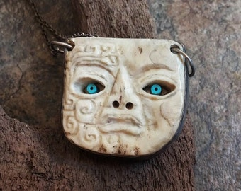 Vintage Navajo Necklace, Sterling Silver, Turquoise Pendant, Carved Bone Jewelry, Traditional Navajo, Sun Boy Terrence Hunt, Santa Fe
