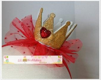 "Mini Queen of Hearts Crown Headband Measures Appox 2"" x 2"""
