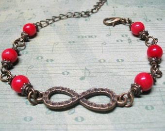Red Coral Bracelet Vintage Bracelet Beaded Bracelet Gemstone Bracelet Red Bracelet Coral Bracelet Romantic Bracelet Red Coral Jewelry