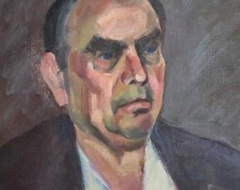 Vintage oil painting impressionsit man portrait
