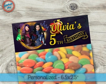 Personalized Descendants bag toppers! Descendants treat bags, Descendants party favors, Descendants thank you bag! Size - 6.2x2.5""