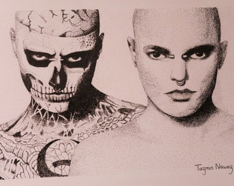 Rick Genest - Pen and Ink - Drawing - Prints - Zombie Boy