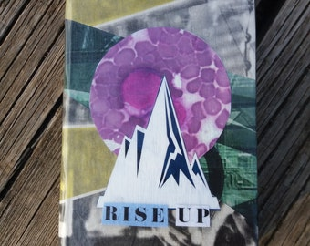 """Original A6 notebook. Analog collage """"Rise up"""". Hand cut collage notebook"""