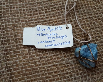 Reiki-Infused, Raw Chrysocolla, Wire-Wrapped Necklace