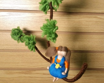 Needle Felted Baby Room Mobile. Mobile Waldorf inspired needle felted doll