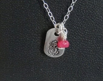 Hand Stamped Sterling Silver Ganesh Charm Necklace with a gemstone