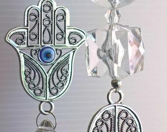 garden decor, crystal suncatcher, hamsa icon, religious decor, crystal hangings, protective hand, outdoor decor, made in Australia, garlands