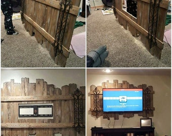 Rustic industrial TV wall mount crafted out of reclaimed wood