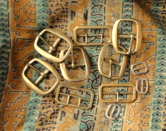 11 Vintage Brass and Steel Buckles