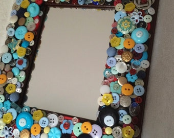 Handmade Whimsical Robin's Egg Colored Button  Wall Mirror