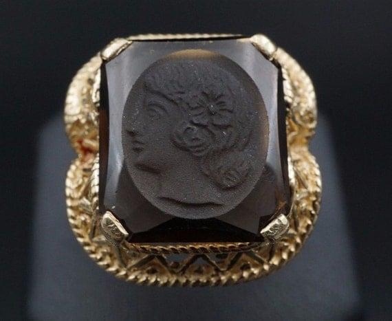 Vintage 14k Yellow Gold Filigree Carved Intaglio Cameo Smoky Quartz Ring Size 10.25 RG550