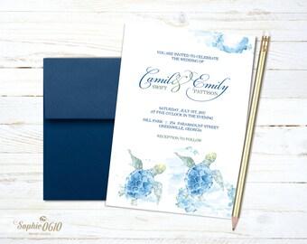 Sea turtle summer wedding invitation, printable watercolor wedding invitation, nature lovers digital wedding set