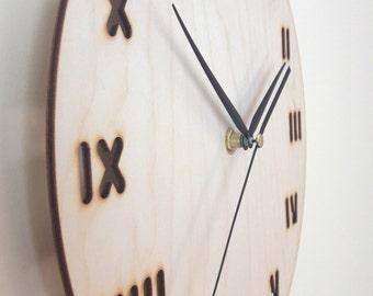 Minimal designed wood wall clock - Home decor - Roman numerals - Modern - Unique - Lines