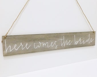 Here Comes The Bride - Rustic Wood - Wedding Sign - Ring Bearer - Flower Girl