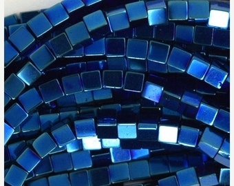 "10% SALE 2mm hematite cube beads 16"" strand blue color 35913"