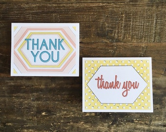 Thank you cards - set of six cards with envelopes, 3 cards of each design - greeting cards - thank you card set - notecard set - stationery
