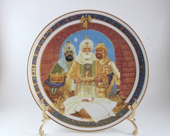Vintage Collectible Porcelain Plate We Three Kings Christmas Royal Windsor Plate Holiday Decoration Home Decor Christmas Decoration