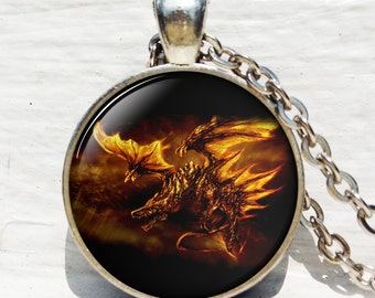 Red Dragon Necklace - Dragon Charm Keyring dragon jewelry