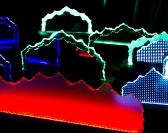 Hand Chipped Mountain Glass with LED lighting