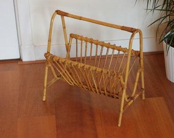 Mid century rattan magazine rack / vintage / retro / 50's / fifties / bamboo / newspaper basket