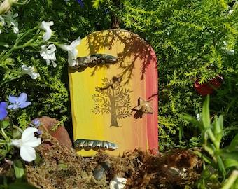 Rainbow tree fairy door