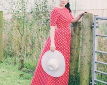 Polka dot dress, polka dot maxi dress, red polka dot dress, open back dress, maxi dress, cotton dress, summer dress, occasion wear, SS16
