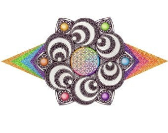 Hypnotic Rainbow - Flower of Life - Print