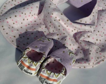 Reversible Hip Baby Girl Burp Cloth Transforms Into a Bib - Front= Purple With Gold Hearts, Back=Pink Polka Dot Flannel