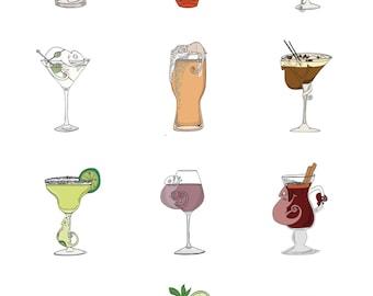 A3 Unframed Chameleon Drink Print