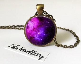 Nebula Pendant, Purple and Blue Space Jewellery