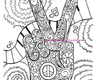 Hippie Coloring Pages Adult Coloring Page Hippie Retro Peace Colouring