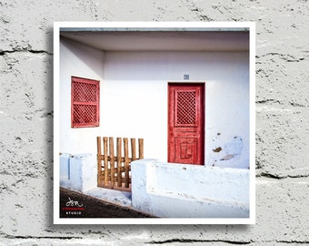 Fine Art Print, A Streetscape with Clean Lines of a White Accented with Red, Carvoeiro, Portugal