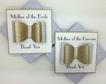 Two Luxury Handcrafted Thank you Bow Cards - Thank you Mother of the Bride and Mother of the Groom Cards - Keepsake Thank you Wedding Cards