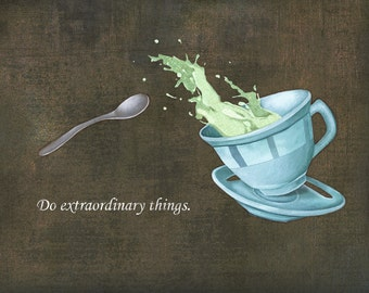 Printed illustration of a cup of tea which splashes with positive inscription