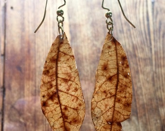 leaf earrings, nature jewelry, oak leaves, resin jewelry, botanical earrings