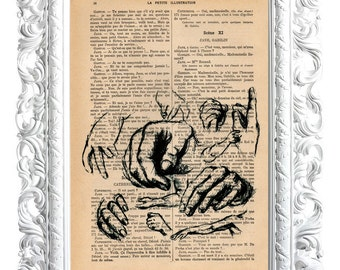 Hands, No. 3. Print on French publication of the illustration. 28x19cm.