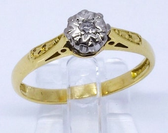 1950/60s Diamond Solitaire Ring 18ct   Size J1/4 (UK) 5 (US)   Free Sizing / Shipping
