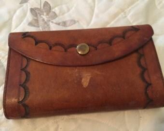 Vintage Etched Leather Wallet