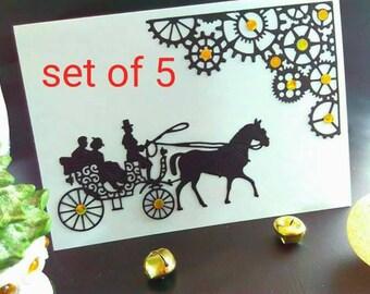 Set of 5, Handmade card, blank card, steampunk card, steampunk Christmas card, paper cut card, horse card, steampunk Christmas, steampunk