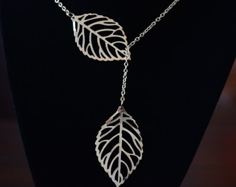 Leaf Lariat Necklace in Gold or Silver
