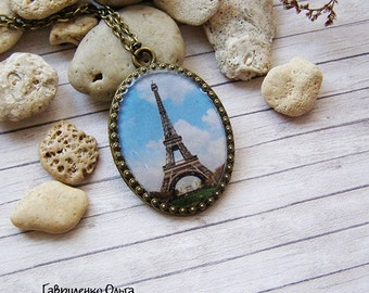 Eiffel Tower Pendant Paris Pendant Paris Necklace Blue Pendant Paris Jewelry Romantic Gift For Women Eiffel Tower Jewelry Oval Pendant