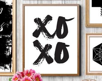 XOXO Printable 4x6 5x7 8x10 Hugs and Kisses Instant Download Art Print XOXO Wall Art Love Wall Art Valentine Printable XO Kisses Fashion Art