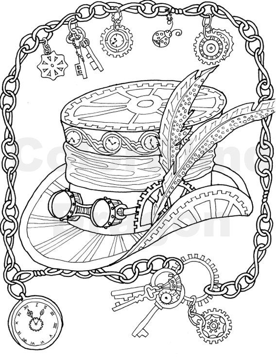 steampunk coloring page coloring pages top hat by