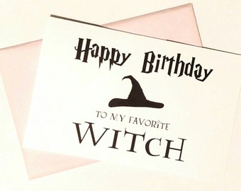 Printable Harry Potter Birthday Card, My Favorite Witch