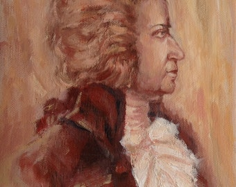 100% Handmade Small Oil Painting : Wolfgang Amadeus Mozart, The Great Musician, Oil Portrait