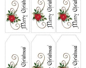 Christmas Gift Tags Printable- Merry Christmas - Instant Download