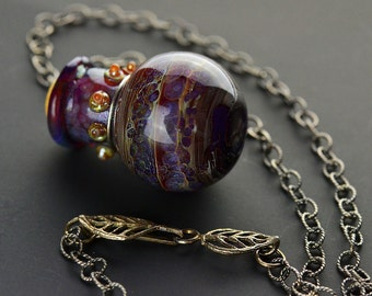 Earthy Purple Lampwork Vessel Pendant Necklace with Sterling Silver Chain and Leaf Clasp - Karen Leonardo