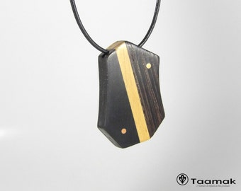 Necklace pendant ebony, Linden and Wengé-necklace for man-wood precious-made hand-Piece unique-jewelry Taamak