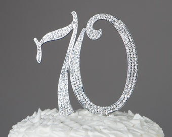 70 Cake Topper, 70th Birthday or Anniversary Party Decorations, Silver Rhinestone Metal Number, Party Supplies and Decoration Ideas